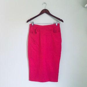ASOS raspberry midi pencil skirt size 6